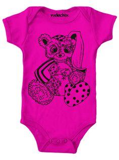 """Infant's """"Zombie Bear Bunny"""" Onesie by Rudechix (Pink)"""