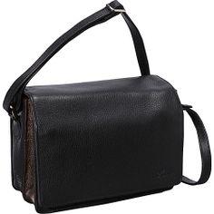 #Handbags, #LeatherHandbags - Derek Alexander Full Flap Multi Compartment Organizer Shoulder Bag Black/Bronze - Derek Alexander Leather Handbags