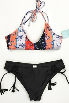 Enjoy one more wonderful travel to the sea! Take this lovely bikini set with you and go now~ So many unique details make it adorable: lace-up & shirring at bottom. Fresh and chic. Shop Now!