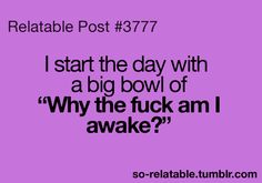 """I start the day with a big bowl of """"Why the fuck am I awake?"""""""