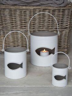 Fish Hurricane Lanterns - White