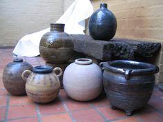 Hand crafted pots. Garden.