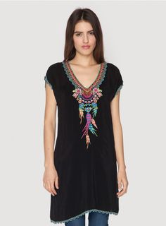 Sweet Dreams Tunic BACK IN STOCK  The Johnny Was SWEET DREAMS TUNIC is a boho babe's dream come true! This bohemian embroidered tunic top features a stunning multi-colored dream catcher and feather embroidery design on both the front and back. With a figure-flattering cut and one-of-a-kind look, you'll treasure the SWEET DREAMS TUNIC for years to come!  - Rayon Georgette - V-Neckline, Short Sleeves, Asymmetric Hem - Signature Embroidery - Care Instructions: Machine Wash Cold, Tumble Dry Low