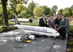 A 1:25 ratio Airbus A380, measuring 9.5ft. long with a 10.5ft. wingspan and just over three feet tall in 75,000 LEGO blocks.