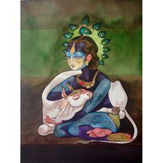 Goddess Saraswati devi Saraswati: Goddess of Knowledge & Arts Baby Krishna, Cute Krishna, Krishna Art, Krishna Images, Radhe Krishna, Lord Krishna, Indian Folk Art, Indian Artist, Krishna Painting