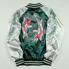 Vintage Sukajan Green Silver Koi Fish Tatoo Art Design Bomber Sukajan Souvenir Jacket - Japan Lover Me Store