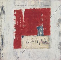marilyn jonassen  Red Square and Grey, 2007, encaustic on clay board, 24in x 24in x 2in