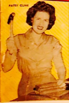 Patsy Cline close-up of top country and folk singers magazine (1957), I don't think many would brave an argument with Patsy and hammer..