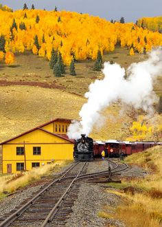 the old steam train and fall in all its beauty! The Hills of Osier - Conejos County, Colorado- an old railroad settlement and train stop approximately halfway along the Cumbres and Toltec Scenic Railroad By Train, Train Tracks, Scenic Train Rides, Tramway, Old Trains, Steam Locomotive, Mellow Yellow, Model Trains, Belle Photo
