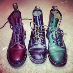 Red, Black, and Green distressed Dr. Martens.  Docs...always!