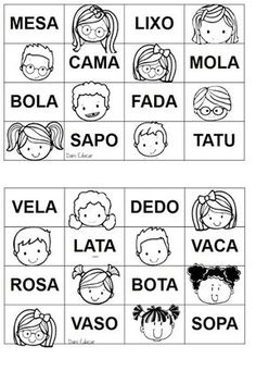 PALAVRAS  PARA DITAR DO BINGO: CADA PALAVRINHA  DITADA PELO PROFESSOR O ALUNO COLOCA UM FEIJÃOZINH... Playing Cards, Professor, Kids, Word Sentences, Word Bingo, Word Reading, Simple Words, Classroom Routines, Classroom Rules