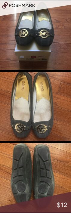 Michael Kors Army Green Suede Flats - size 9.5 Pre-loved Michael Kors army green suede flats with gold MK logo. The shoes show signs of wear. The shoes come with the original box. Bundle with one other item for a 20% discount! Michael Kors Shoes Flats & Loafers