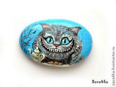 """Pintura sobre piedra hecho a mano. Masters Feria - hecho a mano de piedra-imán """"Cheshire Cat"""". Hecho a mano."""