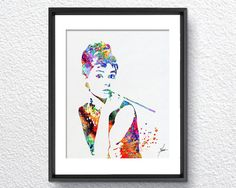 Audrey Hepburn Print Watercolor illustrations by PainterlyDots