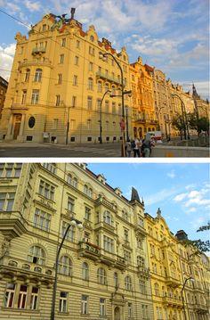 Art Nouveau along Vltava in Prague, Czech Republic