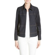 Women's Lafayette 148 New York Adaya Primo Denim Jacket ($398) ❤ liked on Polyvore featuring outerwear, jackets, midnight, shiny jacket, lafayette 148 new york, denim jacket and jean jacket