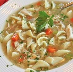 Ina Garten Chicken Noodle Soup: 2 quarts chicken stock, 2 cup celery, 1 cup carrots, 2 cups of egg noodles, roasted chicken, 1/4 cup parsley, salt&pepper Cook 10-15 minutes