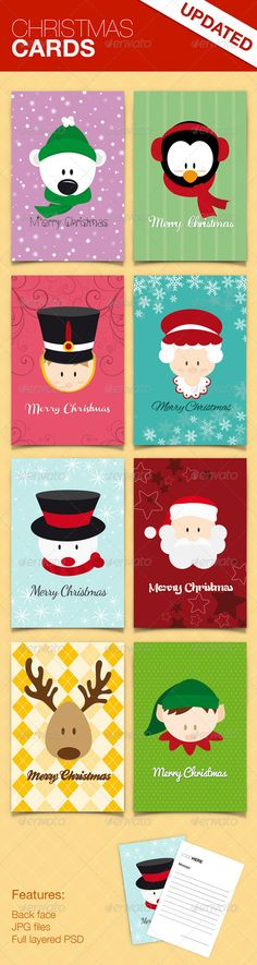 Christmas Cards #GraphicRiver Christmas Cards This package include eight pretty cards perfects for this chritsmas season, they are delivered in modern colors with characters that represents the chirstmas day. These cards are designed for Photoshop, its shapes are Illustrator's Smart Object and very easy to customize. Features: 8 Cards of 11×16 cms including blend. JPG files. PSD files. Spanish. Este paquete contiene ocho lindas tarjetas perfectas para esta temporada navideña, vienen en…