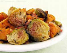 Roasted Brussels Sprouts and Sweet Potatoes with Bacon - I made these without the thyme