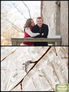 Showing off the Ring at a Winter engagement session