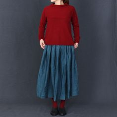 [Envelope online shop] Agnes Lisette Bottoms ・ isette's classic linen hoop skirt, made with uneven dyeing method, to create more texture to the fabric. An elasticized waist finished with a rough edge, with lots of gathered at waistline. #lisette #skirt