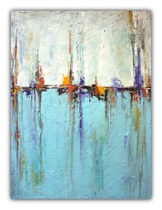 """Sailing"" Abstract White and Blue Painting – Textured Art"