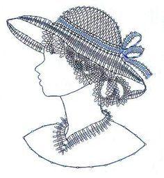 Bonitos patrones de damas con sombrero... Bobbin Lace Patterns, Lacemaking, Parchment Craft, Lace Heart, Lace Jewelry, Needle Lace, String Art, Bracelet Patterns, Tatting