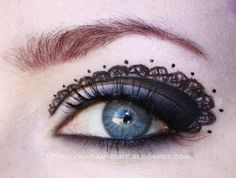 This is amazing eye liner work ... lace