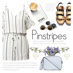 """Pinstripes by Yoins"" by purpleagony on Polyvore featuring Tory Burch and Moleskine"