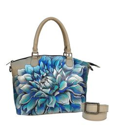 Look at this #zulilyfind! Dreamy Dahlias Hand-Painted Leather Convertible Satchel #zulilyfinds #anuschkahandbags
