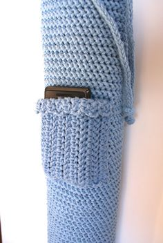 Crochet Yoga Mat Bag Tote  Blue with Pocket by pigswife on Etsy, $25.00