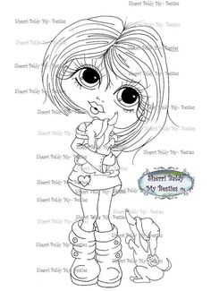 Download imediato Digital3 Digi selos Olho grande Cabeça grande Dolls janela flor Jardim Meus Besties por Sherri Baldy