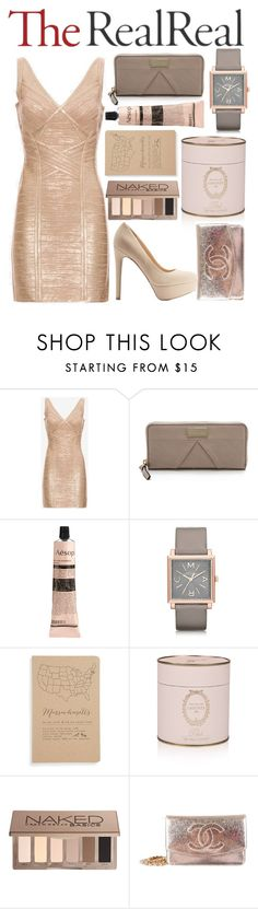 """Three"" by infatuated-chick ❤ liked on Polyvore featuring Hervé Léger, Marc by Marc Jacobs, Aesop, Ladurée, Urban Decay, Chanel and Charlotte Russe"