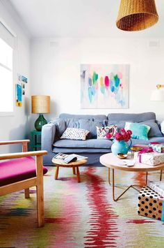 Actor Jane Hall turns a 1960s beach shack into a vivid, colourful home, after a six month mini renovation.