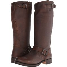 Frye Veronica Slouch Women's Pull-on Boots, Brown ($258) ❤ liked on Polyvore featuring shoes, boots, brown, slouch boots, genuine leather boots, pull on boots, slip on boots and buckle boots