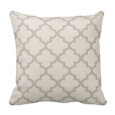 Moroccan Quatrefoil Pattern | Beige and Taupe Pillow  Save 15% on all pillow orders! LAST DAY Use Code: ZAZTAXSAVING