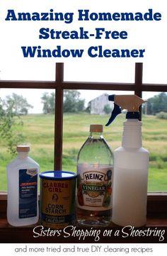 Vinegar Window Cleaner, vinegar cornstarch and alcohol make for an amazing streak-free window cleaner