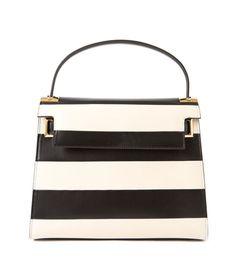 Valentino Black & White Rockstud Striped Bag
