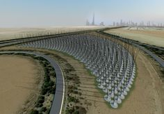 "Atelier DNA's Windstalk project - Second Prize Winner in the ""Land art generator"" competition."