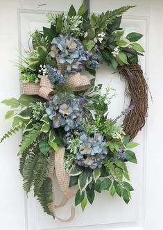 Spring and summer wreath, Hydrangea Wreath, Everyday Wreath,Spring Wreath, Summer Wreath, Grapevine Wreath, Sassy Door Wreath, Front Door
