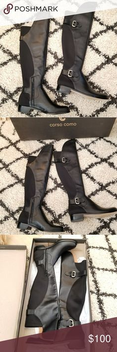 "New Corso Como Splendid Boots! Black over the knee moto boots with stretch panel by Corso Como. Size 6. New in box. Approximately 1"" heel, 22"" boot shaft and 16"" calf circumference. 50% leather and 50% man made lining and sole. Some scuffing (shown). Comes from a smoke-free pet-free home. Fast shipping! NO TRADES! Corso Como Shoes Over the Knee Boots"