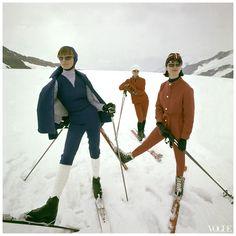 Photo George Barkentin - Switzerland - Winter 1963 Vogue Three Women in Designer Ski Suits on Slopes - Condè Nast Archive