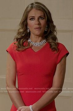 Queen Helena's red v-neck dress on The Royals.  Outfit Details: http://wornontv.net/54488/ #TheRoyals