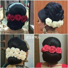 Saree Hairstyles, Evening Hairstyles, Indian Bridal Hairstyles, Bride Hairstyles, Hairstyle Ideas, Stylish Hairstyles, Hairdos, Hairstyles Haircuts, Hairdo Wedding