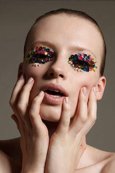 Anastasia Kuznetsova (photographed by Jamie Nelson) [sequin eyes]
