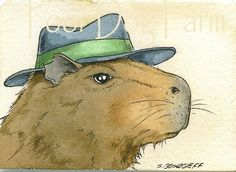 Watercolor Projects, Watercolor Print, Watercolor Paintings, Original Paintings, Sign Printing, The Godfather, Guinea Pigs, Mammals, Animal Pictures
