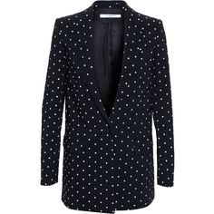 Givenchy Cross Print Blazer ($2,655) ❤ liked on Polyvore featuring outerwear, jackets, blazers, black white blazer, tailored blazer, print blazer, givenchy blazer and white jacket