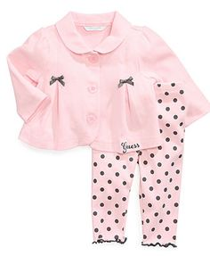 GUESS Baby Set, Baby Girls Newborn 2-Piece Button-Front Jacket and Leggings