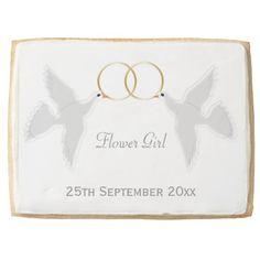 #FlowerGirl Wedding Favor #Dove Design Jumbo #Cookie
