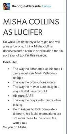 I will never be over how amazing Misha did at capturing Lucifer.